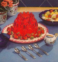 Jack Benny and Mary Livingston Jello Food Styling, Cute Food, Yummy Food, Vintage Jello Molds, Tableaux Vivants, Jello Recipes, Vintage Cookbooks, Oui Oui, Cute Desserts