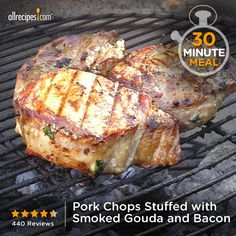 """Pork Chops Stuffed with Smoked Gouda and Bacon 