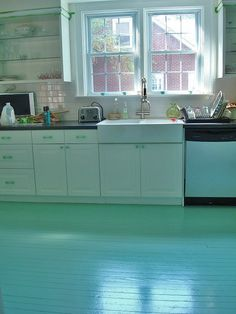 diy floors. [How could you not love this floor color!]