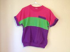 m / l 80's ColorBock T Shirt Blouse / Top New by DaizyLemonade