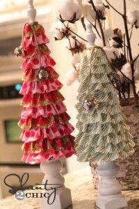 DIY CRAFT Ruffle Christmas Trees Tutorial