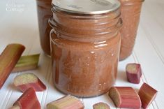 Easy Rhubarb-Ginger Jam - sweetened only with honey!