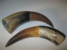 2 Ox horns...A2C..natural colored ox horns with a burnt, carved spiral pattern......cow horns