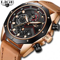 e758538912c3e LIGE Mens Watches Top Brand Luxury Quartz Gold Watch Men Casual Leather  Military Waterproof Sport