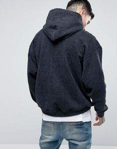 5f5f9ace4ee2 Reclaimed Vintage Inspired Oversized Hoodie In Washed Black - Black Boys
