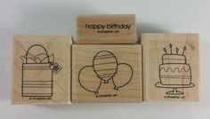 Stampin' Up! BITTY BIRTHDAY (Wood) Cake Balloons Presents Gift Bag - Set of 4 #StampinUp #Background