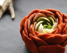 Red and Black Felt Flower Brooch by BridgetStudio on Etsy