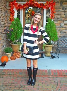 black and white striped dress, black hunter rain boots