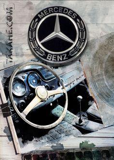 Mercedes 300 SL cockpit • Sie können dieses Motiv auch ohne mein Copyright als hochwertigen Druck auf Metall über den Link bestellen.