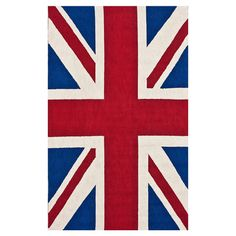 This hand-hooked wool rug brings bold British style home with a vibrant Union Jack motif.   Product: RugConstruction...