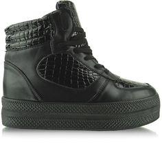 Sneakers na podwójnej podeszwie LBS1231 czarne | Sklep z butami i hurtownia obuwia KupButy.com