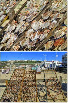 Tradição de secar o pescado em Nazaré - Portugal