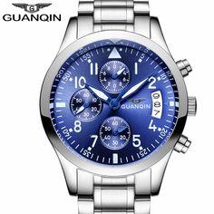 b43c7c936d5 GUANQIN Homens Relógios Top Marca de Luxo Relogio masculino DATA Relógio de  Quartzo Relógio de Aço Inoxidável Dos Homens Do Esporte horloges mannen Um -