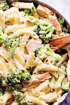 Three Cheese Broccoli Alfredo by therecipecitic #Pasta #Broccoli #Cheese