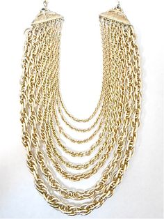 Vintage Gold Multi Strand Chain Necklace by JuliettesJewelsShop, $18.00