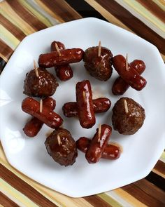 Gameday Meatballs and Lil Smokies: Butter with a Side of Bread party food: bbq sauce, chili sauce, grape jelly