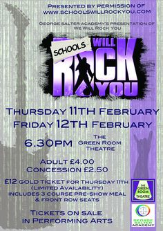 We Will Rock You! - Come and enjoy the hit show 'We Will Rock You' featuring the music of Queen. High energy and packed full of hits! Performances on Thursday 11th and Friday 12th February in the Green Room Theatre,  starting at 6.30pm. Gold tickets, (available for the Thursday performance) still available priced at just £12 for a 3-course pre-show meal and front row seats. All tickets now on sale in the Performing Arts office.