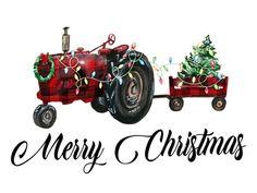 Plaid Christmas, Christmas Design, Christmas Shirts, Christmas Holidays, Merry Christmas, Watercolor Christmas, Christmas Clipart, Watercolor Illustration, Tractors