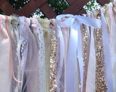 Ivory Burlap Lace Sequins Garland Bunting Backdrop Ribbon Curtain Rose Gold Sparkly Valance Blush Pink Gray-TREND alert
