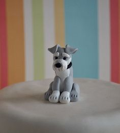 Schnauzer Cake Topper Dog Wedding Cake Topper by TiaLovesArchie