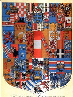 Habsburg Empire Coat of Arms: from left to right: Kingdom of Hungary-Croatia-Dalmatia; Archduchy of Austria; Kingdom of Bohemia-Moravia-Slesia; Principality of Bosnia-Herzegovina; Imperial Austrian-Habsburg-Lorraine Shield; Kingodm of Jerusalem, Castile, Aragon und Burgundy; Kingdom of Lombardy-Venetia; Duchy of Trento and Trieste; Kingdom of Illyria-Carinthia-Styria and Carniola; Duchy of Galizia and Lodomira.