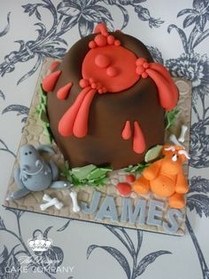 https://flic.kr/p/bKYbG2 | Volcano birthday cake | The brief for this cake was very simply a volcano with dinosaurs