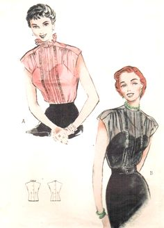 1950s LOVELY Day or Evening Blouse Pattern BUTTERICK 5694 Perfect Under Suits, Sheer Fabrics Bust 36 Vintage Sewing Pattern
