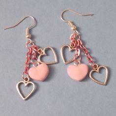 Pink & Silver Plated Dangle Heart Earrings, Jewellery Gift Handmade Valentine's