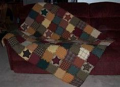 Rag Quilt, Large Throw, Primitive Autumn Colors Primitive ...