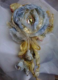 tattered blue shabby rose brooch whimsical hair flower