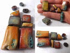 9 Artisan Ceramic Big Beads by greybirdstudio