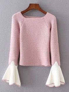 Bell Sleeve Contrasting Jumper - Pink One Size
