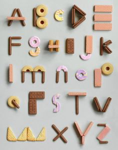 90 Beautiful Typography Alphabet Designs (Part Alphabet A, Alphabet Design, Alphabet Cookies, Food Typography, Creative Typography, Typography Letters, Typography Prints, Typography Images, Types Of Lettering