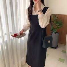 Cute Korean Fashion, Korean Fashion Dress, Ulzzang Fashion, Japanese Fashion, Asian Fashion, Look Fashion, Fashion Dresses, Womens Fashion, Fashion Ideas