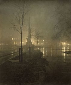 A Wet Night, Columbus Circle  -   William A. Fraser  ca.1897-98  British  1840 - 1925  Gelatin silver print  Photography
