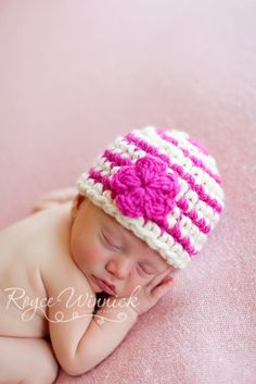 PDF Basic Striped Beanie Chunky yarn CROCHET  PATTERN No 216 photo prop sizes preemie, newborn. 0-3, 3-6 months. $3.99, via Etsy.
