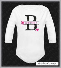 Baby Custom Initial Name Bling Rhinestone Glitter Shirt, Onesie Bling, Personalized Girls Bling, Baby Bling on Etsy, $19.99