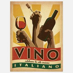 Viva Italia Wine 18x24, $29, now featured on Fab.