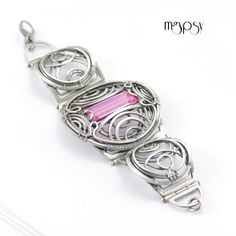 Hexe - Wire wrapped layered bracelet made in sterling silver and pink topaz by mgypsy.