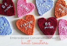 Embroidered Conversation Heart Knit Coasters |Just B Crafty