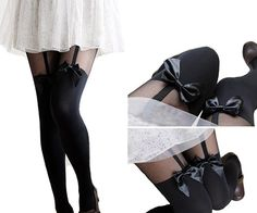 563b95569 black lolita bow stockings ♡ - super cute bow on the front - material