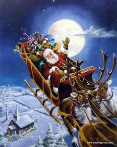 Santa and his reindeer making Christmas Eve Deliveries Signed and Numbered Comes with Certificate Image Size x