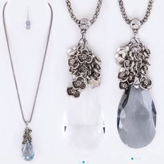 """Crystal Teardrop Necklace Set in BLACK OR CLEAR Crystal teardrop & fringe metal flowers necklace set. Necklace: 28"""" Earrings: 1.75"""" Drop. Lead & Nickel Compliant. Listing is for one set. DO NOT PURCHASE THIS LISTING. Comment on size/color and a separate listing will be made. Offers placed on listing will be ignored. Jewelry Necklaces"""