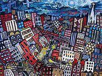 Brian Whelan painting, Cityscape.