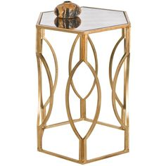 Worlds Away Hexagonal Side Table in Gold Leaf (3,835 CNY) ❤ liked on Polyvore featuring home, furniture, tables, accent tables, gold leaf table, hexagon table, hexagon side table, hex table and gold leaf side table