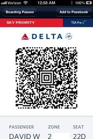 Pogue on airtravel A QR code serves as the writer's boarding pass in the iOS app of Delta Air Lines.