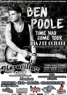 """No te pierdas el concierto que hoy Ben Poole ofrecerá en la Sala Maravillas Club de Madrid dentro de su gira presentando """"Time Has Come"""""""