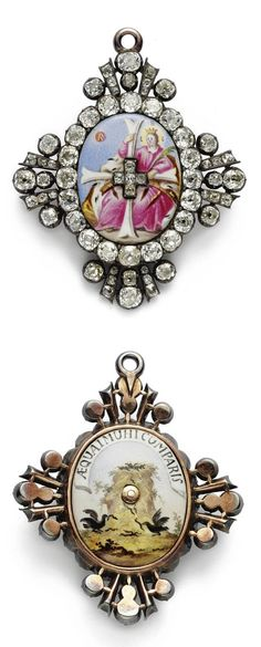 """A RARE RUSSIAN GOLD, ENAMEL AND DIAMOND GRAND CROSS BADGE OF THE IMPERIAL ORDER OF ST. CATHERINE, CIRCA 1800 the front with the enameled image of St. Catherine, the letters C.B.E. above her head, for Holy Martyr Catherine, the border and arms of the cross set with diamonds, the reverse enameled with an eagle's nest and  inscribed in latin, """"Share the Duties of Society."""" With an associated fitted leather case width 2 in. 5 cm"""