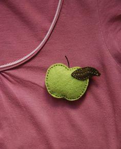 Apple felt brooch
