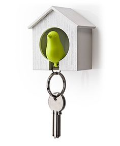 omg...a sparrow key fob that when clipped into its hanging birdhouse acts a way to never misplace your keys! genius and adorable.